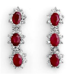 5.63 CTW Ruby & Diamond Earrings 14K White Gold - REF-115M5H - 11249