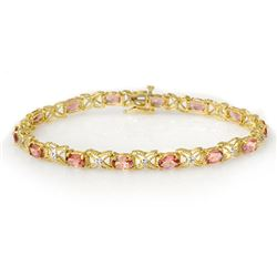 6.0 CTW Pink Tourmaline & Diamond Bracelet 14K Yellow Gold - REF-108N2Y - 14139