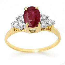 1.35 CTW Ruby & Diamond Ring 14K Yellow Gold - REF-26F4N - 13626