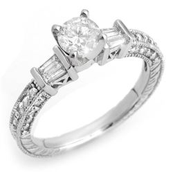 1.08 CTW Certified VS/SI Diamond Ring 18K White Gold - REF-143W3F - 10357