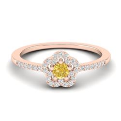 0.40 CTW Citrine & Micro VS/SI Diamond Ring Moon Halo In 10K Rose Gold - REF-20A8X - 21410