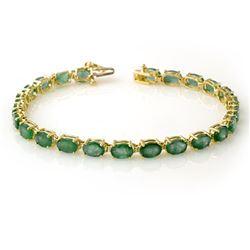 14.0 CTW Emerald Bracelet 10K Yellow Gold - REF-105Y5K - 13447