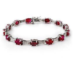 14.54 CTW Ruby & Diamond Bracelet 10K White Gold - REF-81H8A - 13842