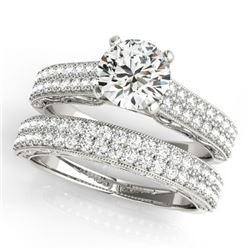 2.5 CTW Certified VS/SI Diamond Solitaire 2Pc Wedding Set Antique 14K White Gold - REF-589W4F - 3148