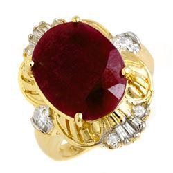 7.84 CTW Ruby & Diamond Ring 14K Yellow Gold - REF-100K2W - 13239