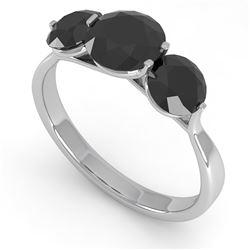 2 CTW Past Present Future Black Certified Diamond Ring Martini 14K White Gold - REF-57A2X - 38350