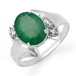2.32 CTW Emerald & Diamond Ring 18K White Gold - REF-50T9M - 13666