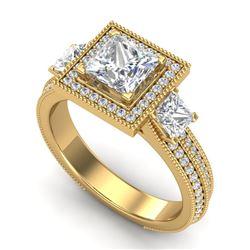 2.5 CTW Princess VS/SI Diamond Micro Pave 3 Stone Ring 18K Yellow Gold - REF-527K3W - 37198