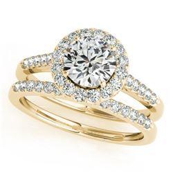0.96 CTW Certified VS/SI Diamond 2Pc Wedding Set Solitaire Halo 14K Yellow Gold - REF-140X2T - 30785