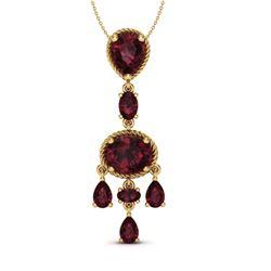8 CTW Garnet Necklace Designer Vintage 10K Yellow Gold - REF-34Y4K - 20403