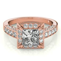 2.1 CTW Certified VS/SI Princess Diamond Solitaire Halo Ring 18K Rose Gold - REF-309K6W - 27172