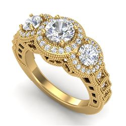 2.16 CTW VS/SI Diamond Solitaire Art Deco 3 Stone Ring 18K Yellow Gold - REF-361F8N - 36970