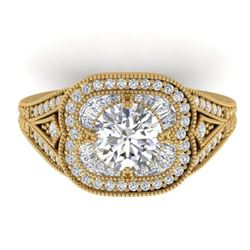 1.95 CTW Certified VS/SI Diamond Art Deco Micro Ring 14K Yellow Gold - REF-421H6A - 30506