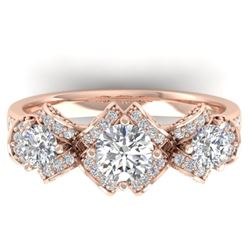 2 CTW Certified VS/SI Diamond Art Deco 3 Stone Ring Band 14K Rose Gold - REF-200H5A - 30283