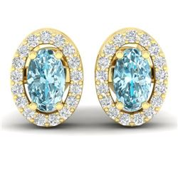 0.80 CTW Sky Blue Topaz & Micro Pave VS/SI Diamond Earrings Halo 18K Yellow Gold - REF-29X3T - 21181