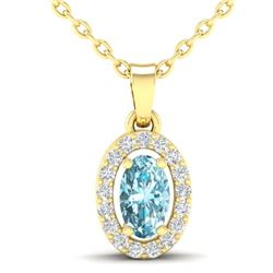 0.40 CTW Sky Blue Topaz & Micro Pave VS/SI Diamond Necklace Halo 18K Yellow Gold - REF-25W5F - 21315