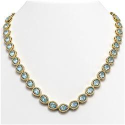 33.35 CTW Aquamarine & Diamond Halo Necklace 10K Yellow Gold - REF-738X2T - 41068
