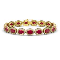 22.89 CTW Ruby & Diamond Halo Bracelet 10K Yellow Gold - REF-291H5A - 40606