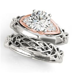 1.1 CTW Certified VS/SI Diamond Solitaire 2Pc Set 14K White & Rose Gold - REF-382T8M - 31882