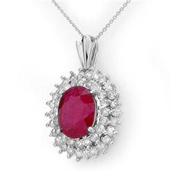 10.81 CTW Ruby & Diamond Pendant 18K White Gold - REF-263N6Y - 12987