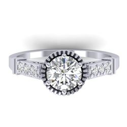 1.22 CTW Certified VS/SI Diamond Solitaire Art Deco Ring 14K White Gold - REF-347H8A - 30534