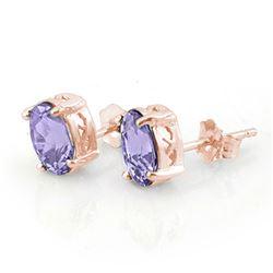 2.0 CTW Tanzanite Earrings 14K Rose Gold - REF-31N8Y - 11326
