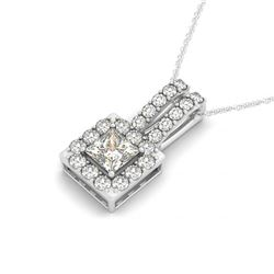 1.25 CTW Princess Certified VS/SI Diamond Solitaire Halo Necklace 14K White Gold - REF-217A8X - 3024