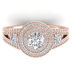 1.50 CTW Certified VS/SI Diamond Art Deco 3 Stone Halo Ring 14K Rose Gold - REF-170T8M - 30373