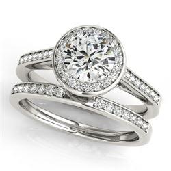0.86 CTW Certified VS/SI Diamond 2Pc Wedding Set Solitaire Halo 14K White Gold - REF-135M6H - 30804