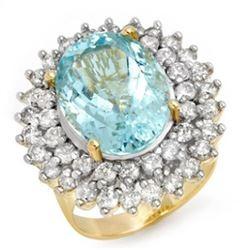 10.50 CTW Aquamarine & Diamond Ring 14K Yellow Gold - REF-272Y4K - 14382