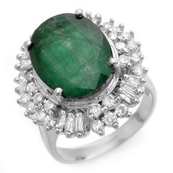 11.75 CTW Emerald & Diamond Ring 18K White Gold - REF-272T8M - 14413