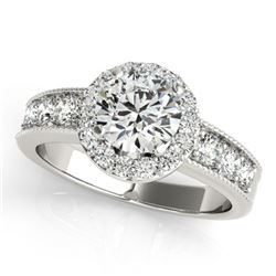 1.6 CTW Certified VS/SI Diamond Solitaire Halo Ring 18K White Gold - REF-250K9W - 27060