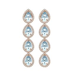7.41 CTW Aquamarine & Diamond Halo Earrings 10K Rose Gold - REF-169T6M - 41163