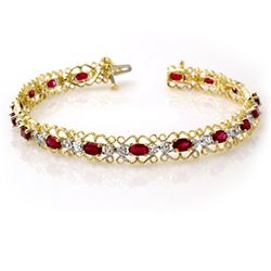 4.22 CTW Ruby & Diamond Bracelet 10K Yellow Gold - REF-69T3M - 13620
