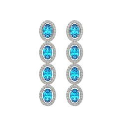 6.28 CTW Swiss Topaz & Diamond Halo Earrings 10K White Gold - REF-103F6N - 40535