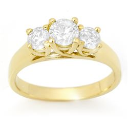1.0 CTW Certified VS/SI Diamond 3 Stone Ring 18K Yellow Gold - REF-147T3M - 12688
