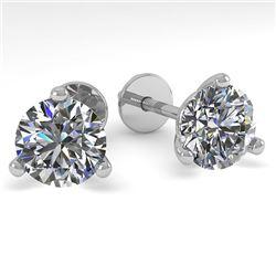 1.50 CTW Certified VS/SI Diamond Stud Earrings 18K White Gold - REF-322H8A - 32208