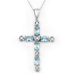 3.15 CTW Blue Topaz & Diamond Necklace 10K White Gold - REF-33X6T - 10777