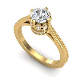 1.14 CTW VS/SI Diamond Art Deco Ring 18K Yellow Gold - REF-220T5M - 36829