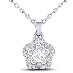 0.28 CTW VS/SI Diamond Micro Pave VS/SI Diamond Necklace Moon Halo 10K White Gold - REF-23N8Y - 2134