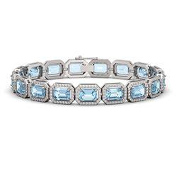 24.51 CTW Aquamarine & Diamond Halo Bracelet 10K White Gold - REF-401W3F - 41402