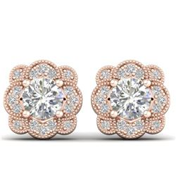 1.5 CTW Certified VS/SI Diamond Art Deco Stud Earrings 14K Rose Gold - REF-196A2X - 30514