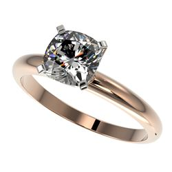 1.25 CTW Certified VS/SI Quality Cushion Cut Diamond Solitaire Ring 10K Rose Gold - REF-372K3W - 329