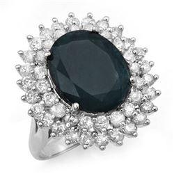 15.55 CTW Blue Sapphire & Diamond Ring 18K White Gold - REF-253A8X - 12992