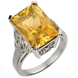 9.20 CTW Citrine & Diamond Ring 14K White Gold - REF-52F2N - 10941