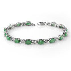8.10 CTW Emerald Bracelet 10K White Gold - REF-44X2T - 13642