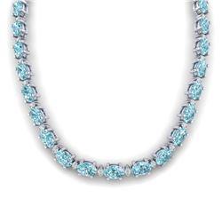 61.85 CTW Sky Blue Topaz & VS/SI Certified Diamond Necklace 10K White Gold - REF-264X9T - 29522