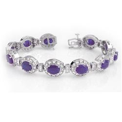 16.0 CTW Tanzanite & Diamond Bracelet 14K White Gold - REF-436F4N - 14196