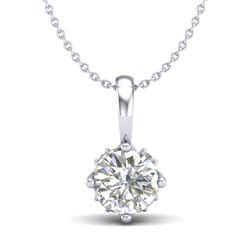 0.62 CTW VS/SI Diamond Solitaire Art Deco Stud Necklace 18K White Gold - REF-101K8W - 37022
