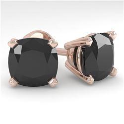 12 CTW Cushion Black Diamond Stud Designer Earrings 18K Rose Gold - REF-270F2N - 32330